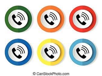 telefono, appartamento, vettore, icona, mobile, set, telefono, fondo, bottoni, bianco, domande, webdesign, disegno
