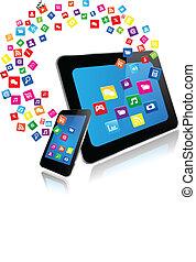 telefono, apps, far male, pc tavoletta