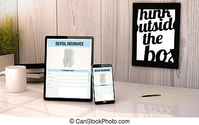 telefono, assicurazione dentale, tavoletta, desktop