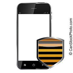 telefono, background..vector, mobile, astratto, isolato, bianco, scudo, realistico, disegno, illustrazione, protettivo