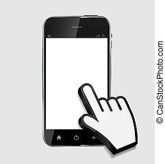 telefono, background..vector, vuoto, astratto, isolato, schermo, bianco, realistico, disegno, illustrazione, mobile