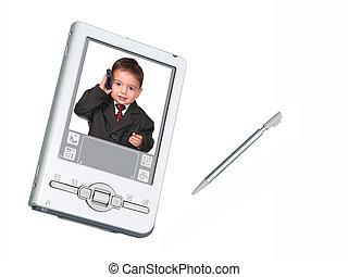 telefono, bambino primi passi, stilo, pda, digitale, bianco, macchina fotografica, sopra, &