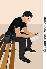 telefono., brunet, giovane, illustrazione, uomo