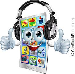 telefono cellulare, app, musica