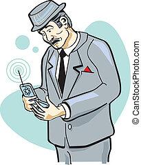 telefono cellulare, arte, clip, uomo