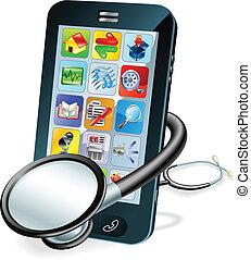 telefono cellulare, concetto, controllo sanitario