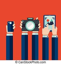 telefono, concetto, foto, tavoletta, macchina fotografica, video, tenere mani, far male