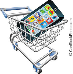 telefono, concetto, shopping, far male, carrello