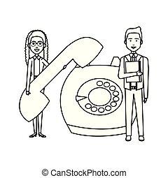telefono, coppia, retro, affari
