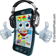 telefono, cuffie, musica
