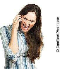 telefono, donna arrabbiata, grida