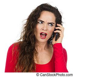 telefono, donna arrabbiata, infastidito, parlare