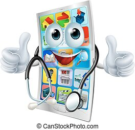 telefono, dottore, cartone animato, uomo