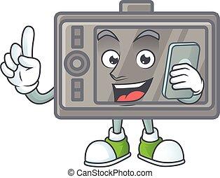 telefono, felice, immagine, wacom, parlante