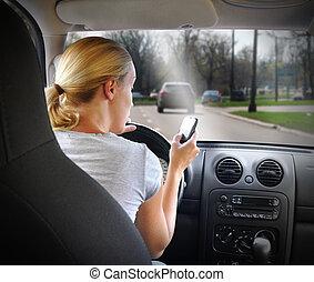 telefono, guida, donna, automobile, texting