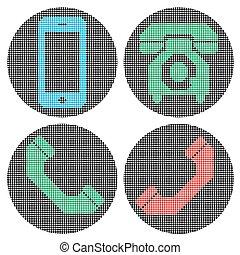 telefono, icons., pixel
