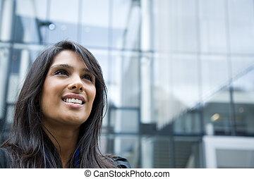telefono, indiano, donna d'affari