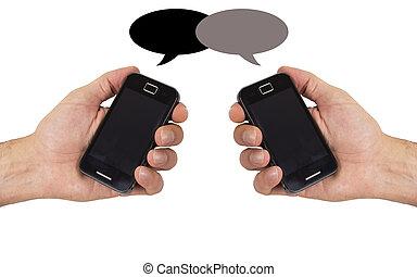 telefono, mobil, isolato, mano