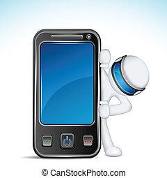 telefono mobile, 3d, uomo