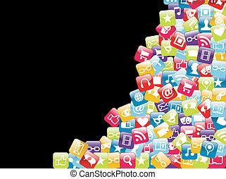 telefono mobile, app, fondo, icone