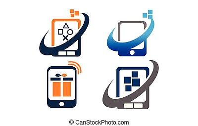 telefono mobile, app, set, centro