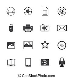 telefono mobile, bianco, nero, icone