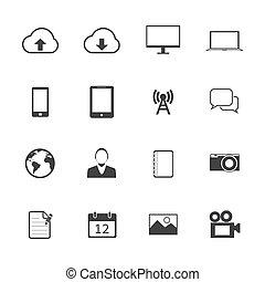 telefono mobile, bianco, nero, icons.