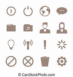 telefono mobile, collegamento, set, icone