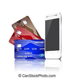 telefono, mobile, concept., credito, pagamento, schede.
