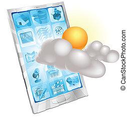 telefono mobile, concetto, tempo, domanda