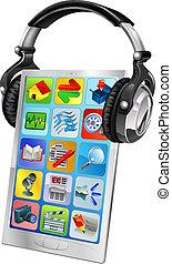 telefono mobile, cuffie, musica