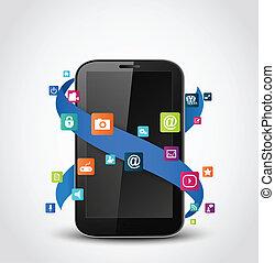 telefono mobile, domande, icone