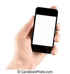 telefono mobile, far male, tenendo mano