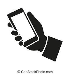 telefono mobile, icon., vettore, mano