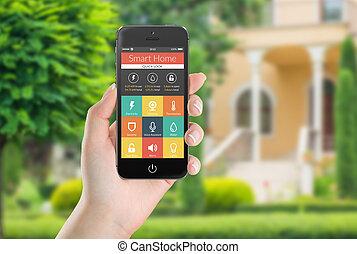 telefono, mobile, icone, domanda, nero, th, casa, far male