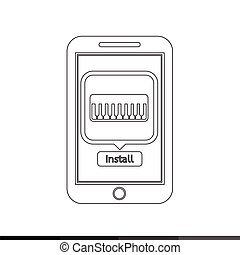 telefono, mobile, illustrazione, domanda, disegno, musica, far male, icona