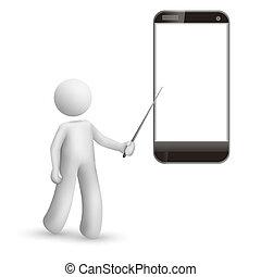 telefono mobile, indicare uomo, 3d