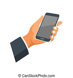 telefono, mobile, mano, fondo., vettore, bianco, icona