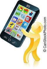 telefono mobile, oro, uomo