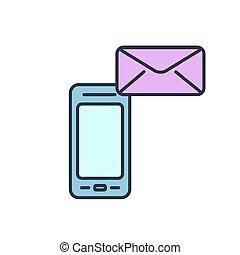 telefono, mobile, ottenere, message., vettore, letter., icona