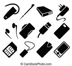 telefono mobile, set, accessori, icona