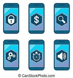 telefono mobile, set, icona