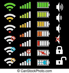 telefono mobile, set, icons.