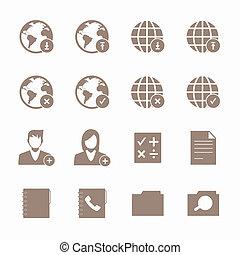 telefono mobile, set., rete, icone