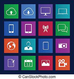 telefono mobile, stile, metro, icons.