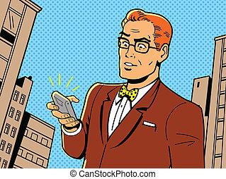 telefono, occhiali, retro, uomo