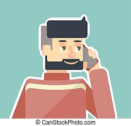 telefono, parla, uomo