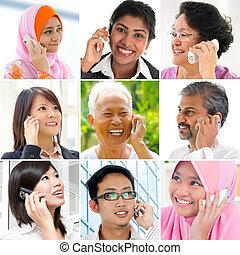 telefono., persone parlando