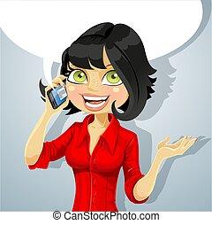 telefono, ragazza, brunetta, parlare