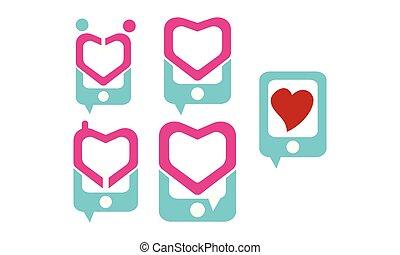 telefono, set, amore, logotipo